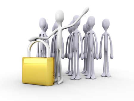 Security Team with a padlock. 3D rendered illustration. Stock Illustration - 10366813