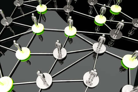 known: Activated nodes in a social network. 3D rendered Illustration.