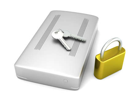 3D rendered Illustration. A secure, external harddrive. Isolated on white. illustration