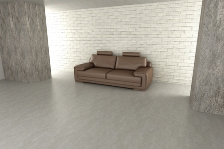 3D rendered Illustration. An sofa in a empty room. Dark concrete style.