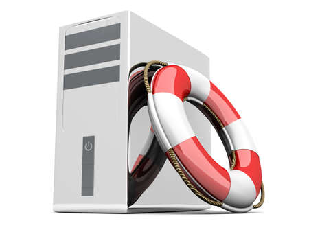 backups: A life belt with a Desktop PC. 3d rendered Illustration. Isolated on white.