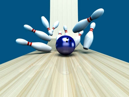 strike: Playing bowling and hitting them all. 3D rendered Illustration.  Stock Photo