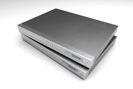 tv unit: Two generic bluray devices. 3D rendered Illustration.