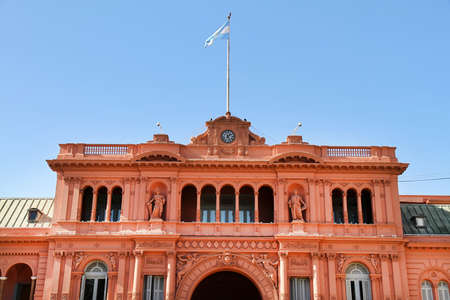 peron: The Casa Rosada, the governmental building in Buenos Aires, the Capital of Argentina. Stock Photo