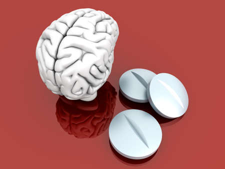 antidepressant: Some pills for the Brain. Symbolic for Drugs, Psychopharmaceuticals, Nootropics and other Medications. 3d rendered Illustration.