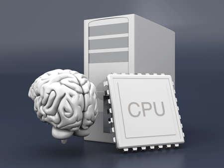 artificial intelligence: Artificial Intelligence Symbol. 3D rendered Illustration. Gray background.  Stock Photo