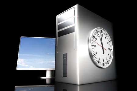 Digital time  server time. 3D rendered Illustration.  illustration