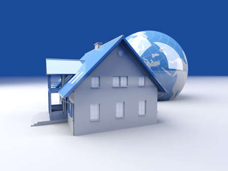 immigrate: Real estate arround the World. 3D rendered Illustration.  Stock Photo