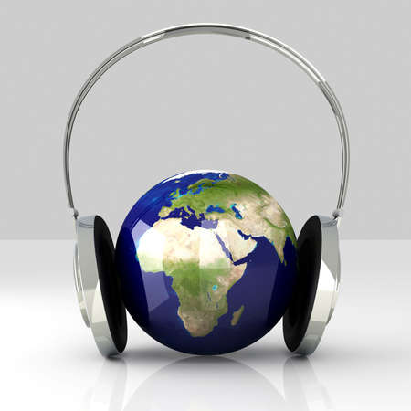 hifi: The music of Europe. Headphones and a world globe. 3D rendered Illustration.  Stock Photo