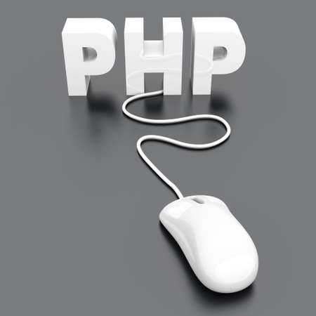 dynamic html: PHP click. 3D rendered Illustration.   Stock Photo