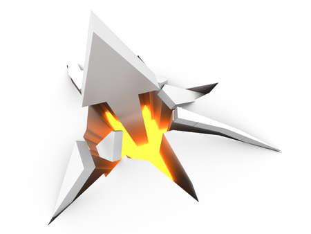 rupture: Breaking through! 3D rendered Illustration.