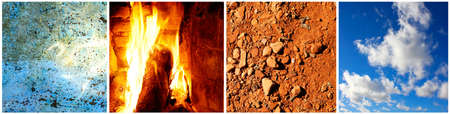 The four elements: water, fire, earth and air in one collage. photo