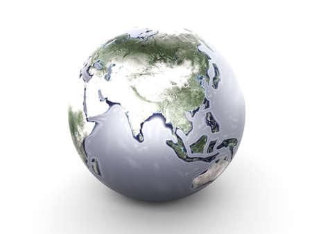 A metallic globe. 3D rendered Illustration.