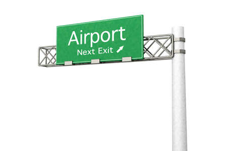 3D rendered Illustration. Highway Sign next exit to the Airport. Isolated on white. Stock Illustration - 10709914