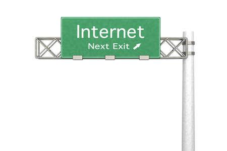 3D rendered Illustration. Highway Sign next exit to Internet.   Stock Illustration - 10709904