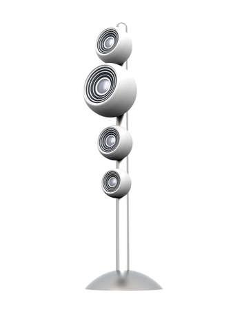 sub woofer: A modern, metallic Speaker. 3D rendered Illustration. Isolated on white. Stock Photo