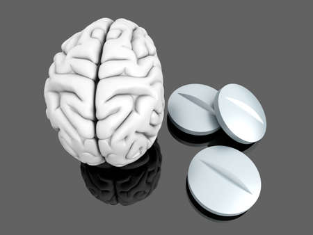 enhancer: Some pills for the Brain. Symbolic for Drugs, Psychopharmaceuticals, Nootropics and other Medications. 3d rendered Illustration.