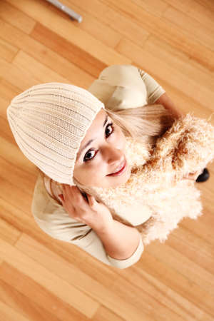 A young woman posing in winter clothing. photo
