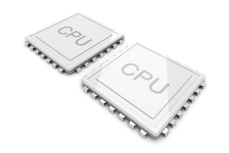 3D rendered Illustration. Two core CPU. Isolated on white.