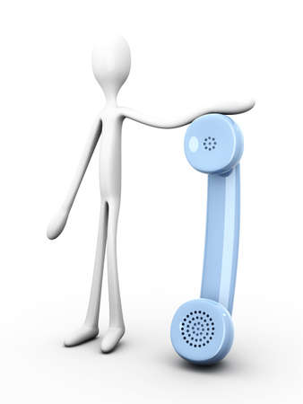 the watchman: 3D rendered Illustration. Holding a phone.    Stock Photo
