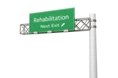 3D rendered Illustration. Highway Sign next exit to Rehabilitation.   Stock Photo