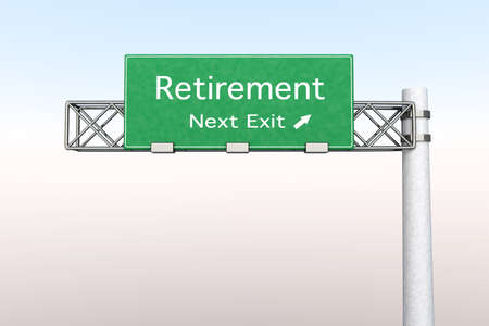 annuity: 3D rendered Illustration. Highway Sign next exit to Retirement.