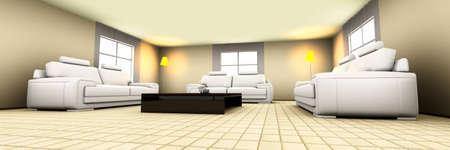 3D rendered Illustration. Interior visualisation of a living room. illustration