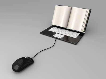 A digital book  on a laptop screen. Symbolic 3D rendered Illustration. illustration