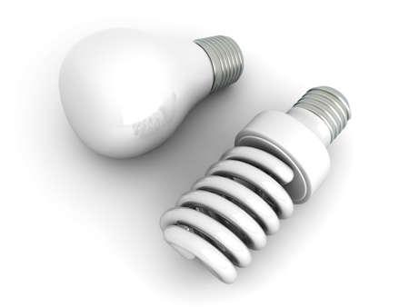 bombillo ahorrador: Un cl�sico y una energ�a moderna l�mpara ahorro de energ�a. 3D representa la ilustraci�n. Aislado en blanco. Foto de archivo
