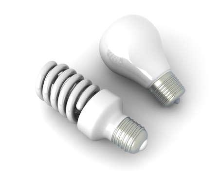 bombillo ahorrador: Un cl�sico y una energ�a moderna l�mpara ahorro de energ�a. 3d rindi� la ilustraci�n. Aislado en blanco. Foto de archivo