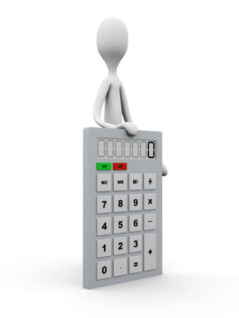 A cartoon figure presenting the calculations. 3D rendered Illustration. Isolated on white. Stock Illustration - 10866364