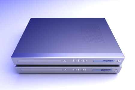 tv unit: Two generic bluray  DVD devices. 3D rendered Illustration.