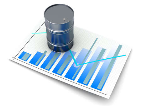 fossil fuel: Oil statistics and analytics. 3D rendered illustration.