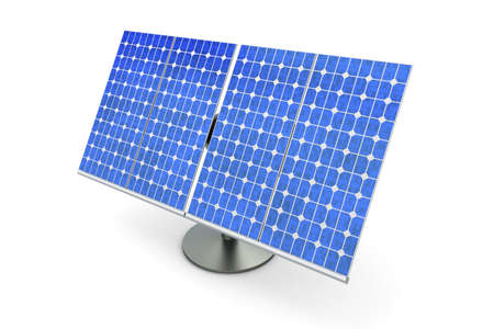 panel: 3D rendered Illustration. A single solar panel, isolated on white.
