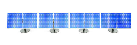 3D rendered Illustration. A line of solar panels, isolated on white. Stock Photo