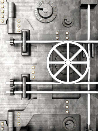 metal doors: 3D rendered Illustration. A bank vault door.