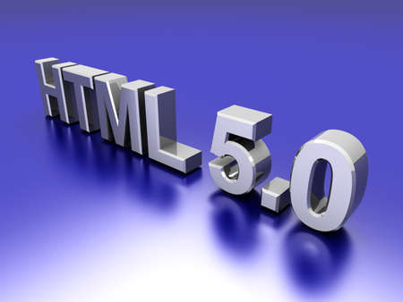 html 5: HTML 5.0. 3D rendered Illustration.