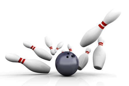 of them: Playing bowling and hitting them all. 3D rendered Illustration. Isolated on white.