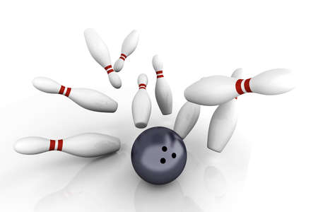 bowling strike: Playing bowling and hitting them all. 3D rendered Illustration. Isolated on white.