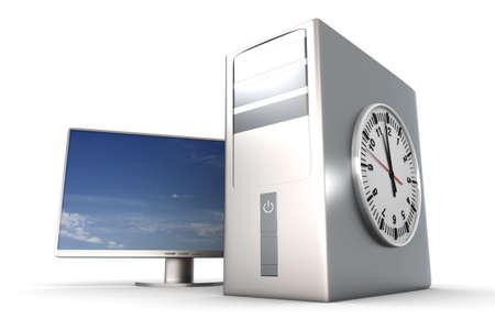 Digital time  server time. 3D rendered Illustration. Isolated on white.   illustration