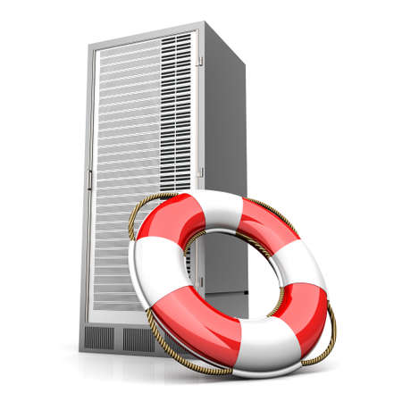 life belt: A life belt with a Server tower. 3d rendered Illustration. Isolated on white.
