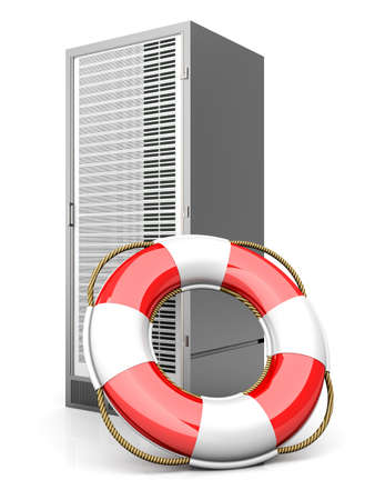 swimming belt: A life belt with a Server tower. 3d rendered Illustration. Isolated on white.
