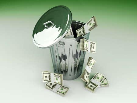 lost: Moneytrash can. 3D rendered illustration.
