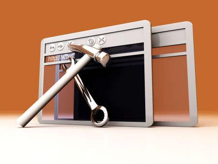 webhoster: 3D Illustration. Website is under construction.