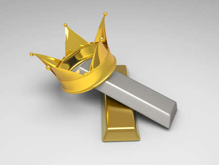 A crown with gold and silver. 3D rendered illsutration. photo