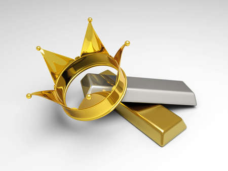 gold bar earn: A crown with gold and silver. 3D rendered illsutration. Stock Photo