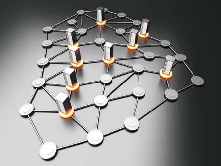 infraestructura: Cloud Connected de 19 torres de servidor pulgadas. 3D rindi� la ilustraci�n.