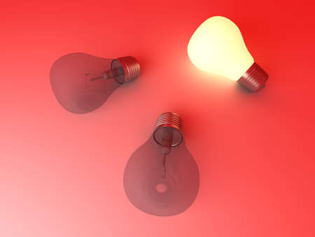 A glowing light bulb between others. 3D rendered Illustration.  illustration