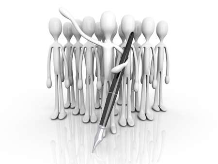clique: A Team welcoming you to sign up. 3D rendered illustration. Isolated on white.