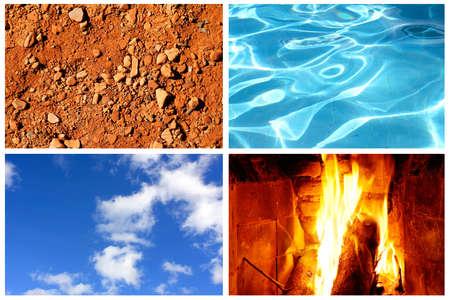 Die vier Elemente: Wasser, Feuer, Erde und Luft in einer Collage.